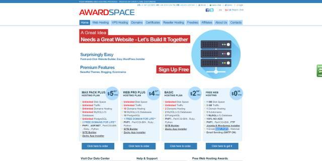 תצלום מסך Award Space אחסון אתרים בחינם
